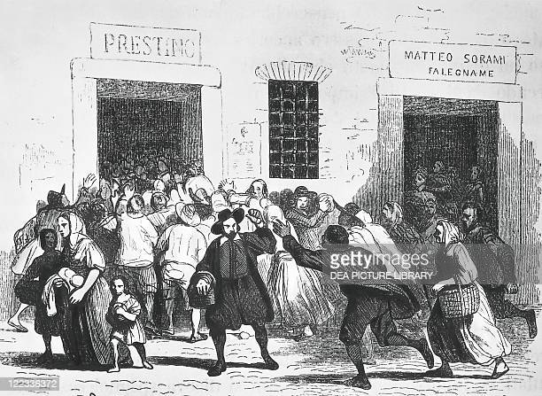 Alessandro Manzoni Illustration for I Promessi Sposi Sacking of a bakery an episode of the bread riots in Milan Engraving