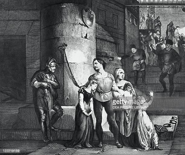 Alessandro Manzoni illustration for the tragedy Il Conte di Carmagnola Engraving by Francesco Hayez 1828