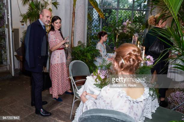 Alessandro Maria Ferreri and Lucilla Bonaccorsi attend Luisa Beccaria Home Collection for Moda Operandi on April 16 2018 in Milan Italy