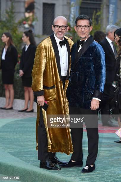 Alessandro Maria Ferreri and Marco Bonaldo attend the Green Carpet Fashion Awards Italia 2017 during Milan Fashion Week Spring/Summer 2018 on...