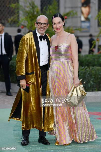 Alessandro Maria Ferreri and Matea Benedetti attend the Green Carpet Fashion Awards Italia 2017 during Milan Fashion Week Spring/Summer 2018 on...