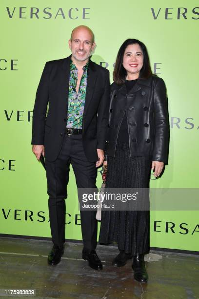 Alessandro Maria Ferreri and Mia Egron attend the Versace fashion show during the Milan Fashion Week Spring/Summer 2020 on September 20 2019 in Milan...