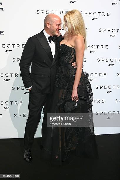 Alessandro Maria Ferreri and Ria Antoniou attend a red carpet for 'Spectre' at Auditorium Della Conciliazione on October 27 2015 in Rome Italy