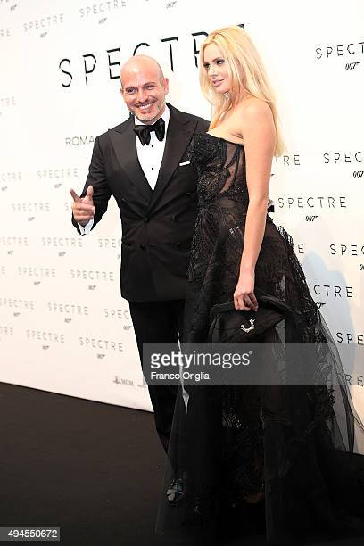 Alessandro Maria Ferreri and Ria Antoniou attend a red carpet for 'Spectre' on October 27 2015 in Rome Italy