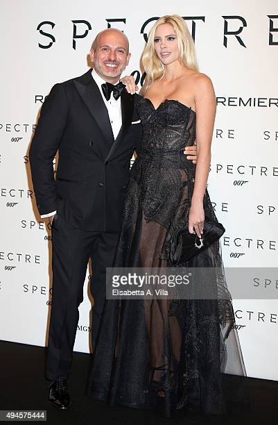 Alessandro Maria Ferreri and Ria Antoniou attends a red carpet for 'Spectre' on October 27 2015 in Rome Italy