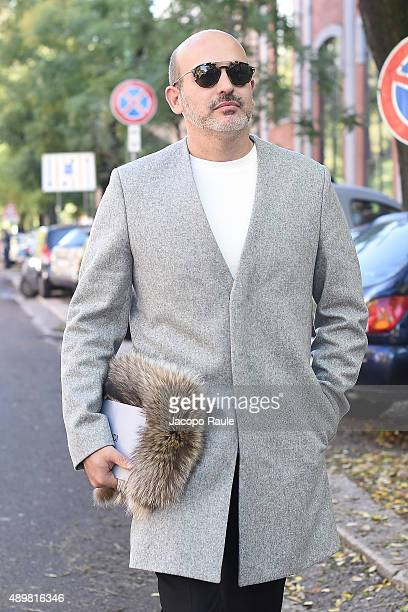 Alessandro Maria Ferreri arrives at the Fendi show during the Milan Fashion Week Spring/Summer 2016 on September 24 2015 in Milan Italy