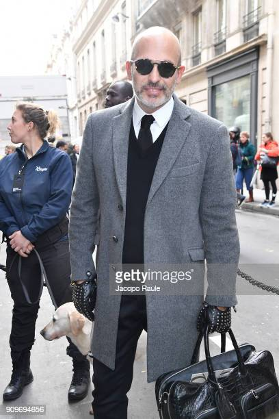 Alessandro Maria Ferreri is seen arriving at Elie Saab fashion show during Paris Fashion Week Haute Couture Spring/Summer 2018 on January 24 2018 in...