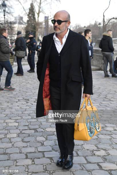 Alessandro Maria Ferreri is seen arriving at Elie Saab fashion show during Paris Fashion Week Womenswear Fall/Winter 2018/2019 on March 3 2018 in...