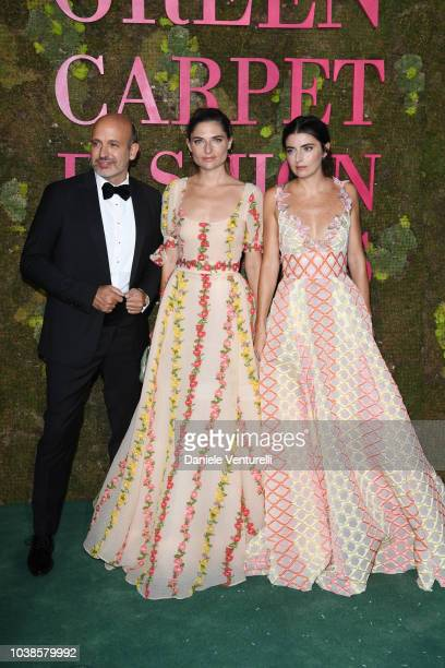 Alessandro Maria Ferreri Lucrezia Bonaccorsi and Lucilla Bonaccorsi attend the Green Carpet Fashion Awards at Teatro Alla Scala on September 23 2018...