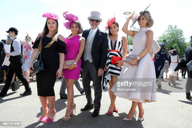 Alessandro Maria Ferreri poses with guests at the Royal Enclosure on Day 3 during Royal Ascot on June 21 2018 in Ascot England