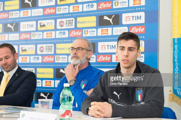 Alessandro Marosa Paolo Nicolato Filippo Melegoni attends a FIGC Elite Round U19 Press Conference on March 19 2018 in Lignano Sabbiadoro Italy