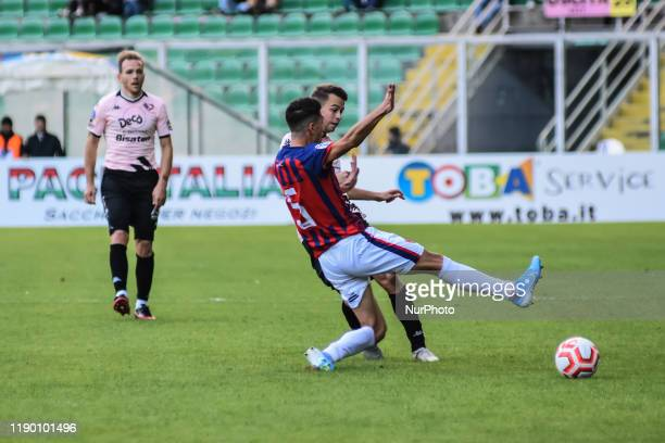 Alessandro Martinelli and Malaury Martin during the serie D match between SSD Palermo and ASD Troina at Stadio Renzo Barbera on December 22, 2019 in...