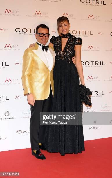 Alessandro Martonara and Cristina Chiabotto attend the Alessandro Martorana birthday party at Four Seasons Hotel on March 6 2014 in Milan Italy