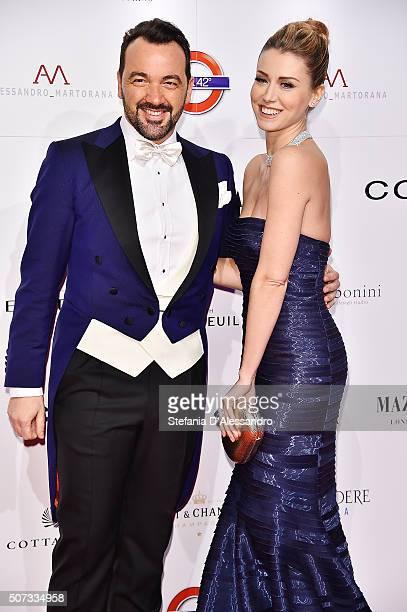 Alessandro Martorana and Elena Barolo attend Alessandro Martorana Birthday Party held at La Permanente on January 28 2016 in Milan Italy