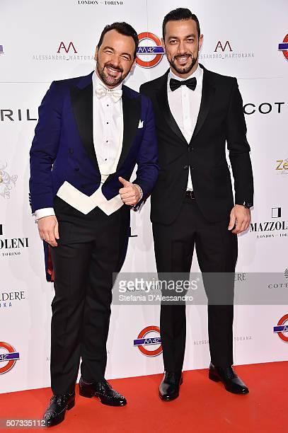 Alessandro Martorana and Fabio Quagliarella attend Alessandro Martorana Birthday Party held at La Permanente on January 28 2016 in Milan Italy
