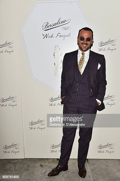 Alessandro Martorana attends Borsalino By Nick Fouquet Capsule Collection Cocktail Launch during Milan Fashion Week Spring/Summer 2017 on September...