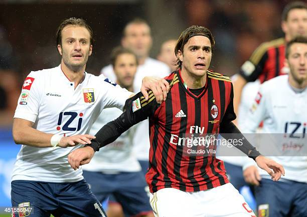 Alessandro Matri of AC Milan and Alberto Gilardino of Genoa CFC during the Serie A match between AC Milan and Genoa CFC at Stadio Giuseppe Meazza on...