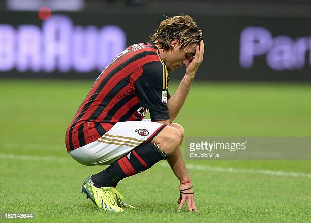 Alessandro Matri of AC Milan dejected during the Serie A match between AC Milan and UC Sampdoria at Stadio Giuseppe Meazza on September 28 2013 in...