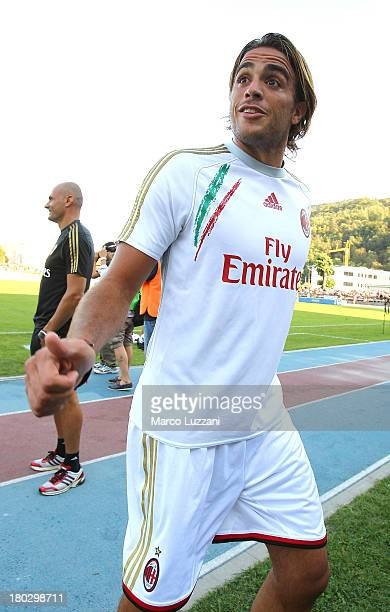 Alessandro Matri of AC Milan gestures before the friendly match between Chiasso and AC Milan on September 7 2013 in Chiasso Switzerland