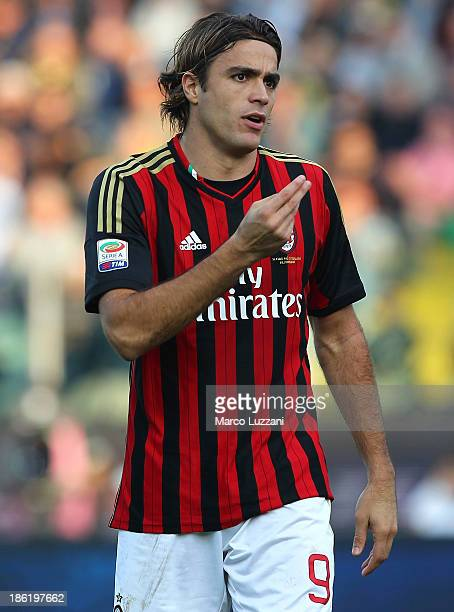 Alessandro Matri of AC Milan gestures during the Serie A match between Parma FC and AC Milan at Stadio Ennio Tardini on October 27 2013 in Parma Italy