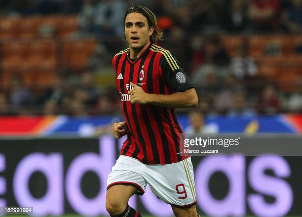 Alessandro Matri of AC Milan in action during the Serie A match between AC Milan and UC Sampdoria at Stadio Giuseppe Meazza on September 28 2013 in...