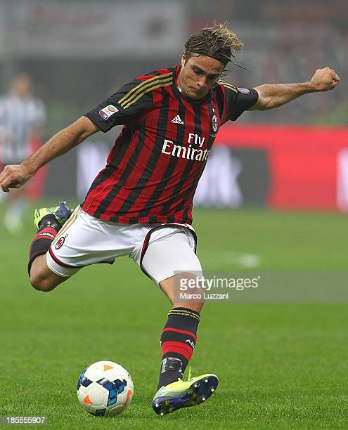 Alessandro Matri of AC Milan in action during the Serie A match between AC Milan and Udinese Calcio at Giuseppe Meazza Stadium on October 19 2013 in...