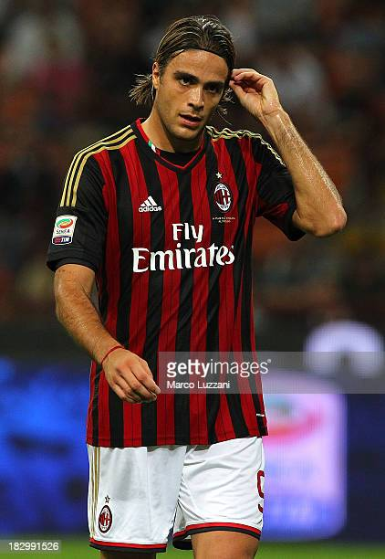 Alessandro Matri of AC Milan looks on during the Serie A match between AC Milan and UC Sampdoria at Stadio Giuseppe Meazza on September 28 2013 in...