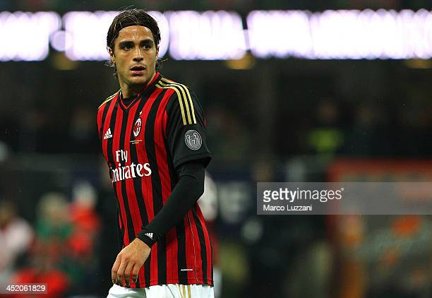 Alessandro Matri of AC Milan looks on during the Serie A match between AC Milan and Genoa CFC at Stadio Giuseppe Meazza on November 23 2013 in Milan...