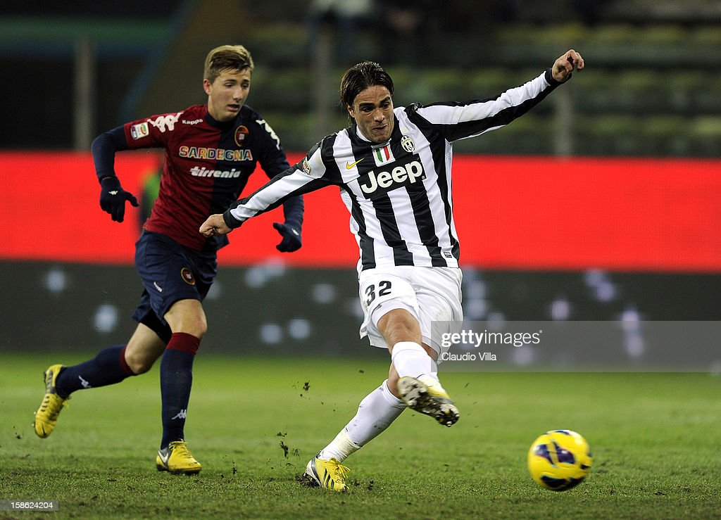 Alessandro Matri of FC Juventus scoring the second goal during the Serie A match between Cagliari Calcio and FC Juventus at Stadio Ennio Tardini on December 21, 2012 in Parma, Italy.
