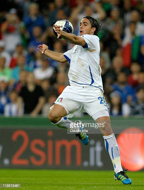 Alessandro Matri of Italy during the international friendly match between Italy and Ireland at Stade Maurice Dufrasne on June 7 2011 in Liege Belgium