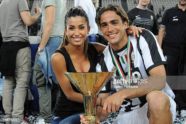 Alessandro Matri of Juventus and Federica Nargi celebrate with the Serie A trophy at the end of the Serie A match between Juventus and Cagliari...