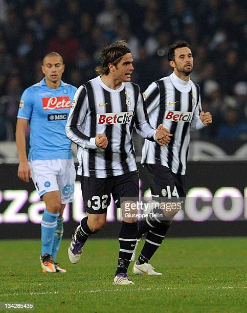 Alessandro Matri of Juventus celebrates after scoring the goal 21 during the Serie A match between SSC Napoli and Juventus FC at Stadio San Paolo on...