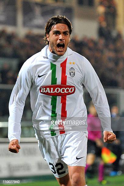 Alessandro Matri of Juventus celebrates scoring a goal during the Serie A match between AC Cesena and Juventus FC at Dino Manuzzi Stadium on March...