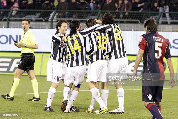 Alessandro Matri of Juventus celebrates the goal during the Serie A match between Cagliari Calcio and Juventus FC at Stadio Sant'Elia on February 5...