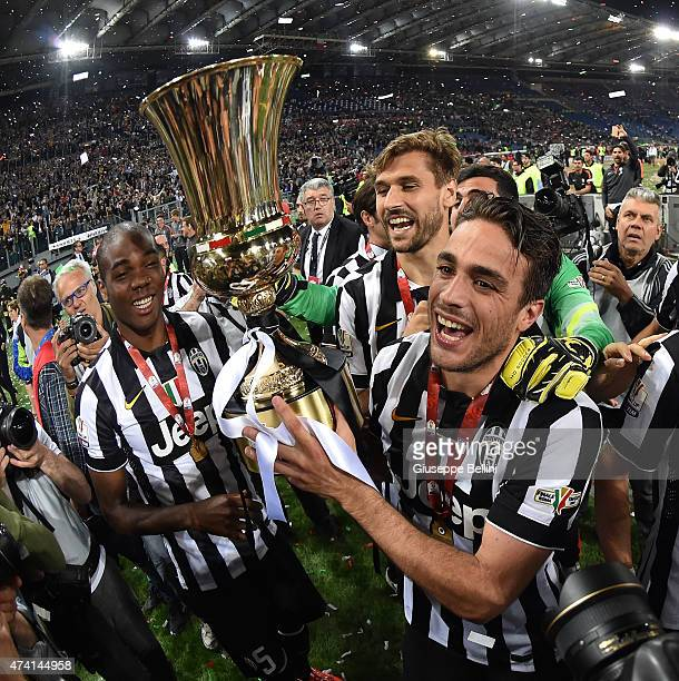 Alessandro Matri of Juventus celebrates the victory after the TIM Cup final match between SS Lazio and Juventus FC at Olimpico Stadium on May 20 2015...