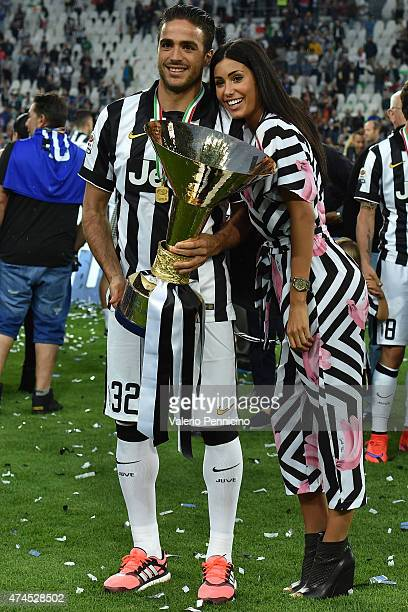 Alessandro Matri of Juventus FC and Federica Nargi celebrate with the Serie A Trophy at the end of the Serie A match between Juventus FC and SSC...