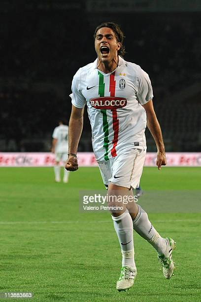 Alessandro Matri of Juventus FC celebrates a goal during the Serie A match between Juventus FC and AC Chievo Verona at Olimpico Stadium on May 9 2011...