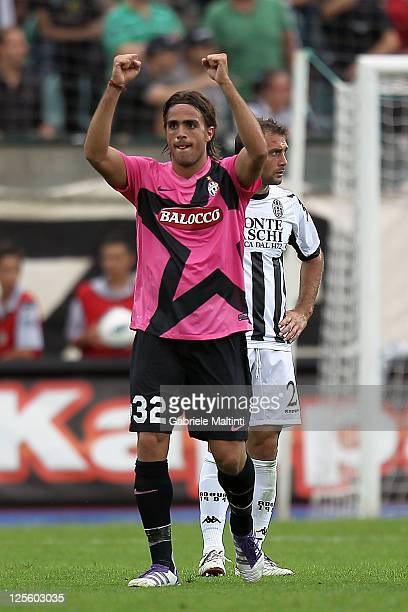 Alessandro Matri of Juventus FC celebrates after scoring a goal during the Serie A match between AC Siena and Juventus FC at Artemio Franchi Mps...