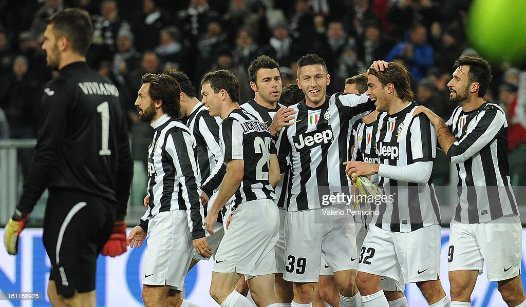 Alessandro Matri (2nd R) of Juventus FC celebrates with his team mates after scoring during the Serie A match between Juventus FC and ACF Fiorentina at Juventus Arena on February 9, 2013 in Turin, Italy.