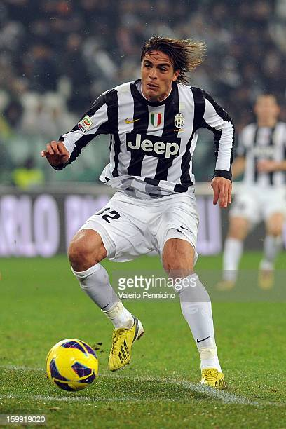 Alessandro Matri of Juventus in action during the Serie A match between Juventus and Udinese Calcio at Juventus Arena on January 19 2013 in Turin...