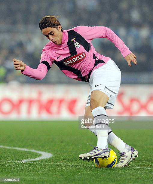 Alessandro Matri of Juventus in action during the Serie A match between SS Lazio and Juventus FC at Stadio Olimpico on November 26 2011 in Rome Italy