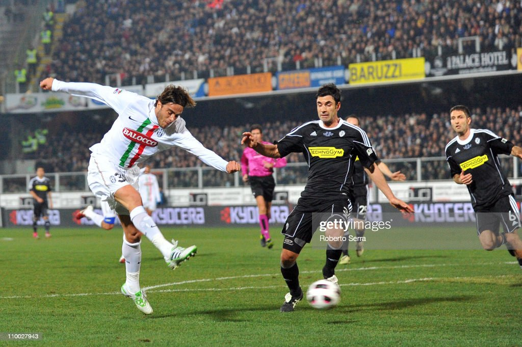Alessandro Matri of Juventus scores a goal during the Serie A match between AC Cesena and Juventus FC at Dino Manuzzi Stadium on March 12, 2011 in Cesena, Italy.