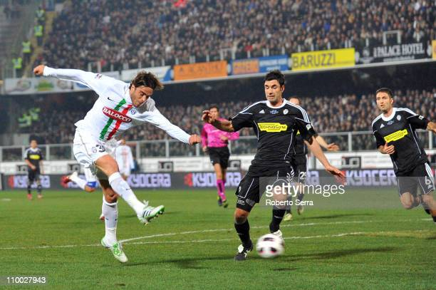 Alessandro Matri of Juventus scores a goal during the Serie A match between AC Cesena and Juventus FC at Dino Manuzzi Stadium on March 12, 2011 in...