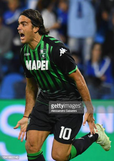 Alessandro Matri of Sassuolo celebrates after scoring his team second goal during the serie A match between SPAL and US Sassuolo at Stadio Paolo...