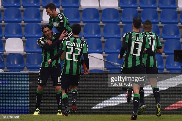 Alessandro Matri of Sassuolo celebrates his second goal during the Serie A match between US Sassuolo and US Citta di Palermo at Mapei Stadium Citta'...