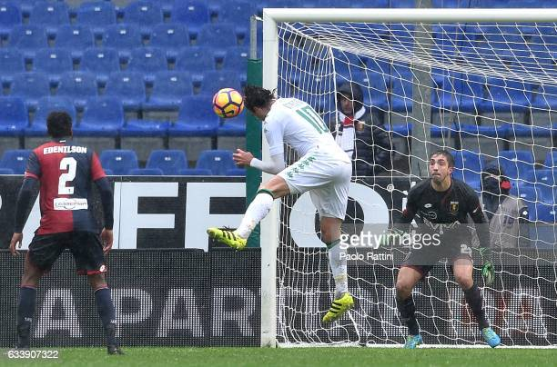 Alessandro Matri of Sassuolo misses a chance with a header during the Serie A match between Genoa CFC and US Sassuolo at Stadio Luigi Ferraris on...