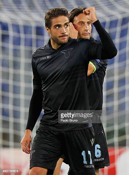 Alessandro Matri of SS Lazio celebrates after scoring the opening goal during the UEFA Europa League group G match between SS Lazio and Rosenborg BK...