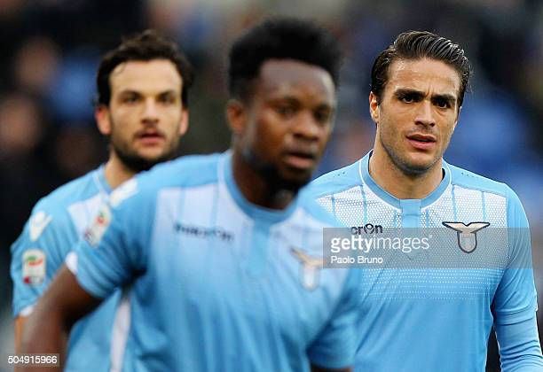 Alessandro Matri of SS Lazio looks on during the Serie A match between SS Lazio and Carpi FC at Stadio Olimpico on January 6 2016 in Rome Italy