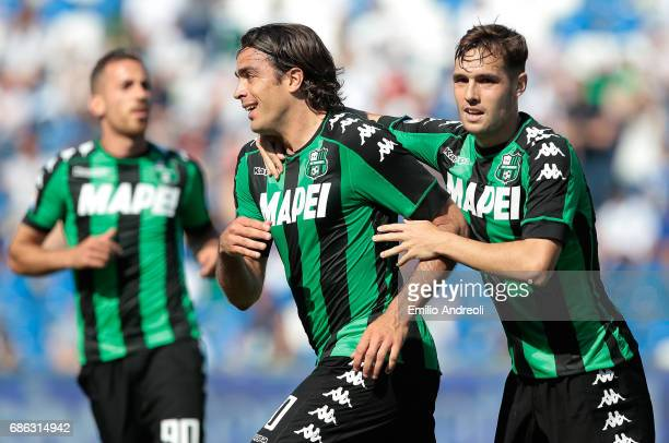 Alessandro Matri of US Sassuolo Calcio celebrates his goal with his teammate Pol Lirola during the Serie A match between US Sassuolo and Cagliari...