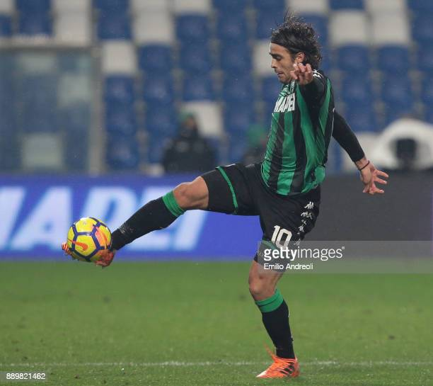 Alessandro Matri of US Sassuolo Calcio controls the ball during the Serie A match between US Sassuolo and FC Crotone at Mapei Stadium Citta' del...